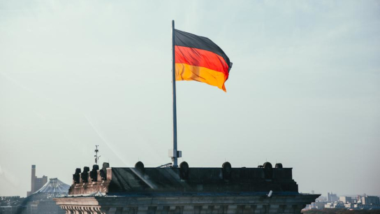 German Flag On Rooftop